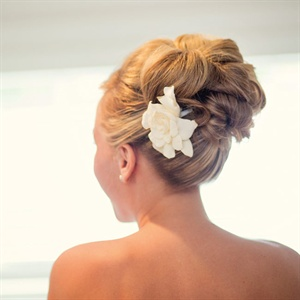 Bridal Updo with Floral Hairpin