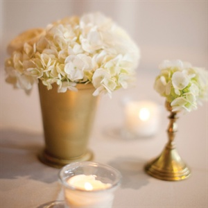 Gold and White Hydrangea Centerpieces
