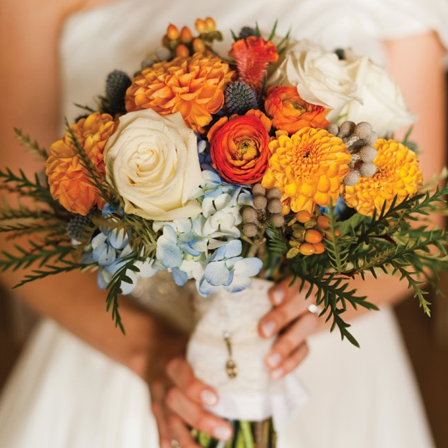 Her bouquet combined hydrangeas,