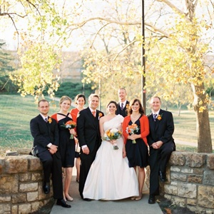 Orange and Navy Wedding Party Attire