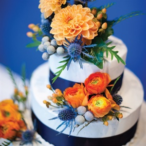 Navy and Orange Wedding Cake