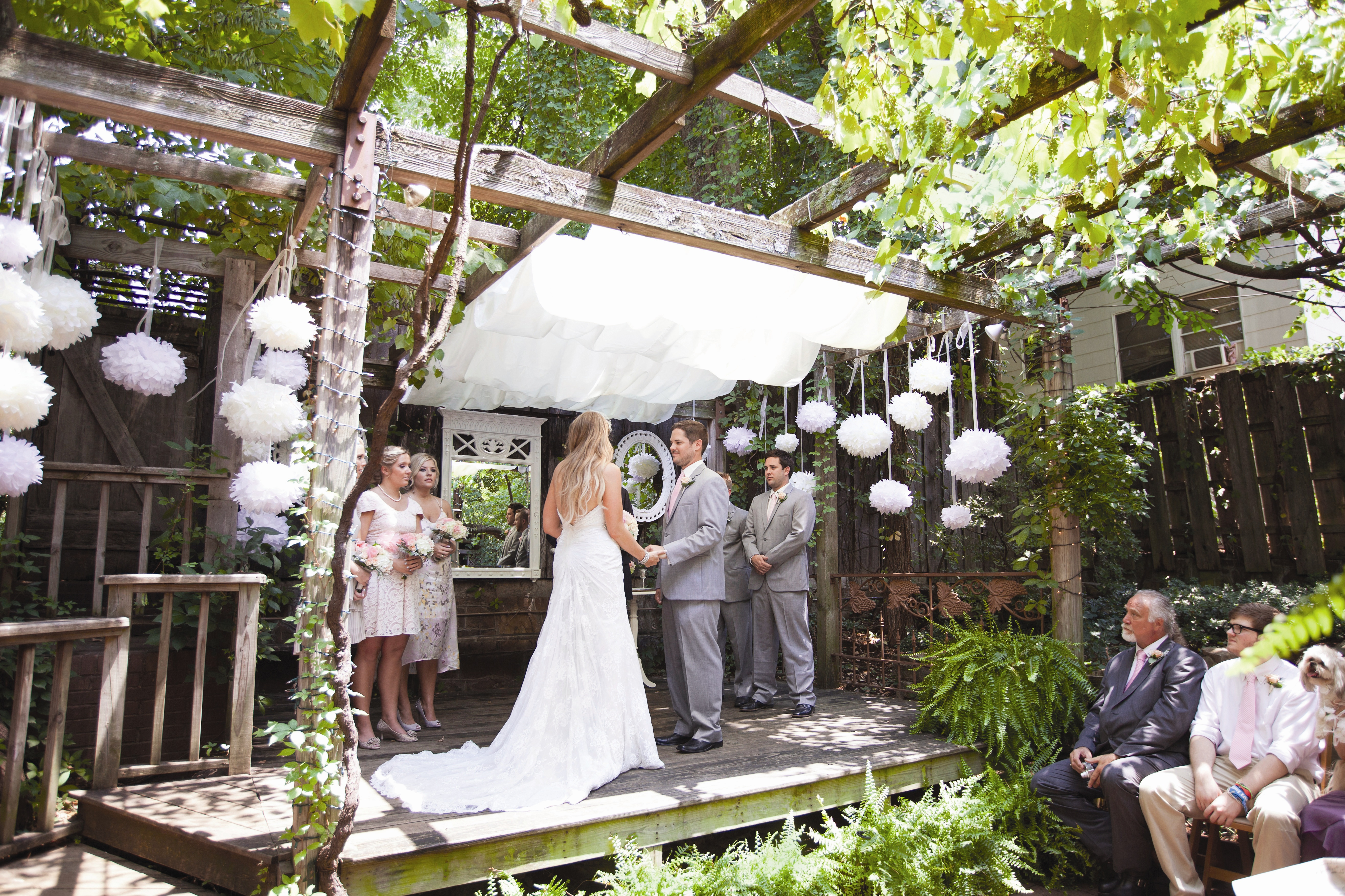 The intimate garden arbor was perfect for a Sunday