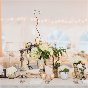 Vintage Mercury Glass and Floral Centerpieces
