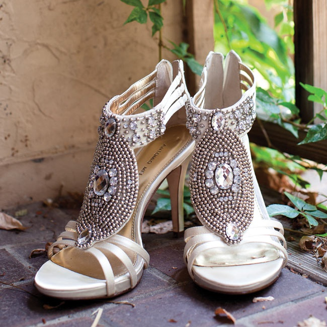 The shoes for the ceremony were ivory with beautiful rhinestone and beadwork detailing.