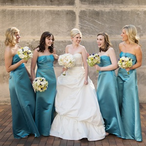 Blue Empire Waist Bridesmaid Dresses