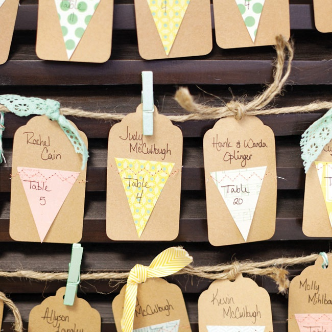 Kraft-paper-tag escort cards were