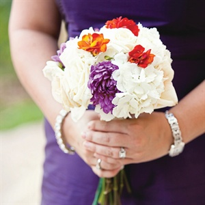 White and Purple Bridesmaid Bouquet