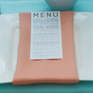 Peach and White Menu Card