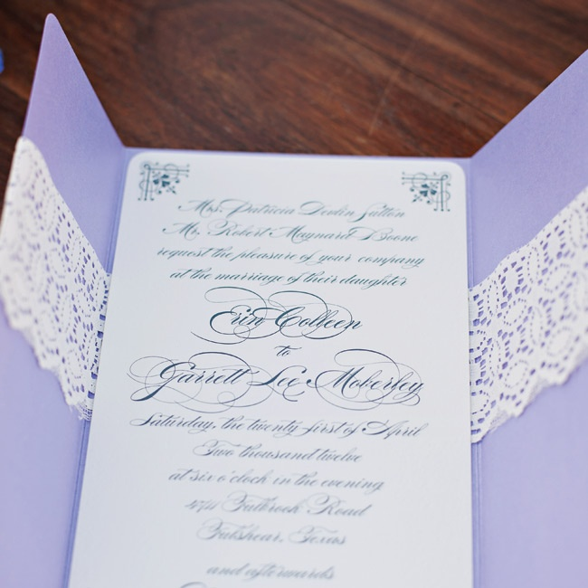 The engraved invitations were mounted on purple