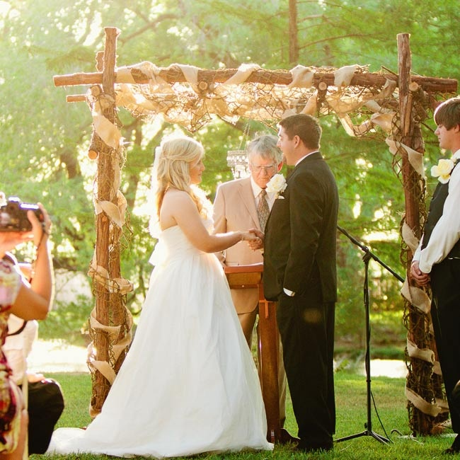 Rustic Wedding Arch With Burlap: David's Bridal