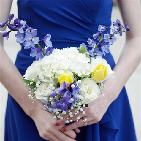 Blue White And Yellow Bridesmaid Bouquet
