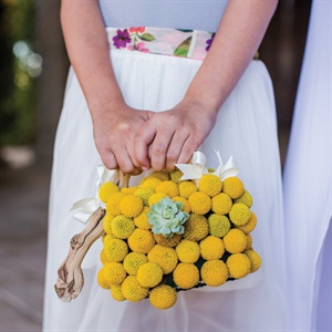 Craspedia and Succulent Flower Girl Basket