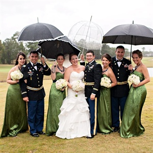 Green and Navy Bridal Party Attire