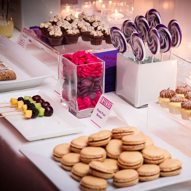 The couple had a small cake for the cutting, and guests were treated to a lavish dessert buffet of macarons, mini cupcakes, cannoli and more.
