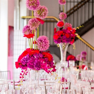 Purple and Fuchsia Centerpieces