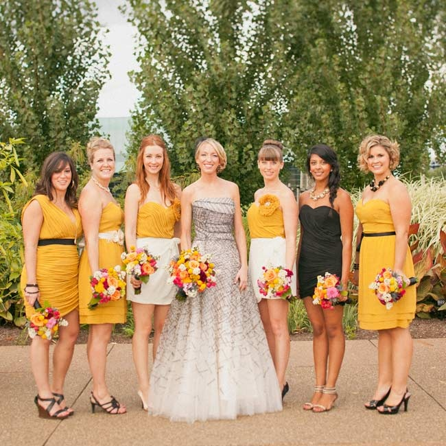 Wanting her six bridesmaids to be able to express their personalities, Kristin gave them free rein to choose their dresses. Fashion-forward Kristin never