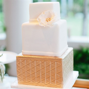 Gold Geometric-Patterned Cake