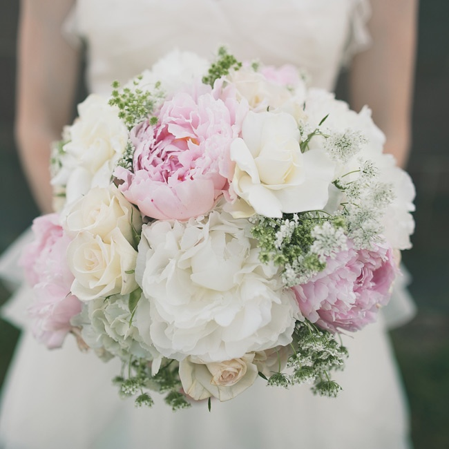 The bridal bouquet was a fluffy mix of ivory hydrangeas (Amanda's favorite), Queen Anne's lace, wax flowers, white roses, pink peonies and gardenias.