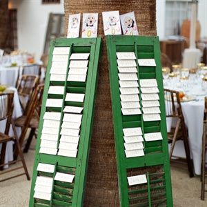 Antique Shutter Escort Card Display