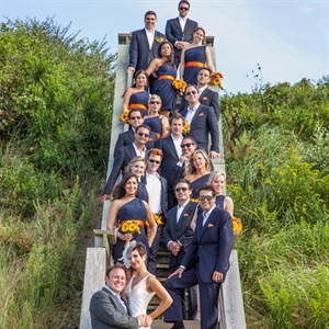 Navy and Orange Wedding Party Attire