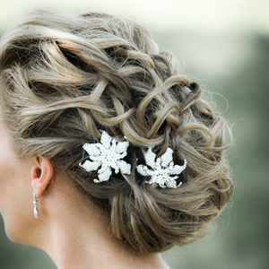 Loose Updo with Crystal Hair Accessories