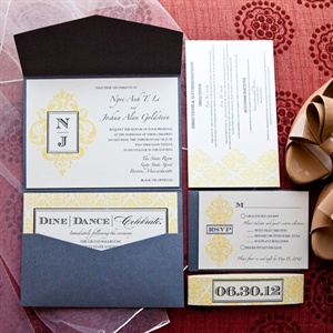 Pewter and Yellow Pocket-Fold Invitations