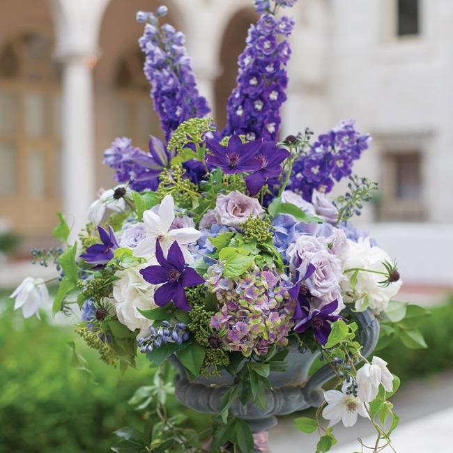 Urns overflowing with purple