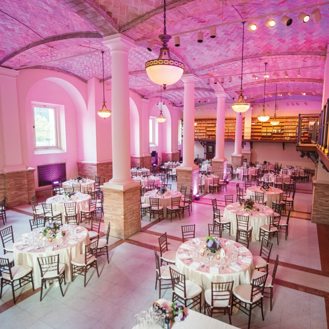 Purple lighting was used to give the