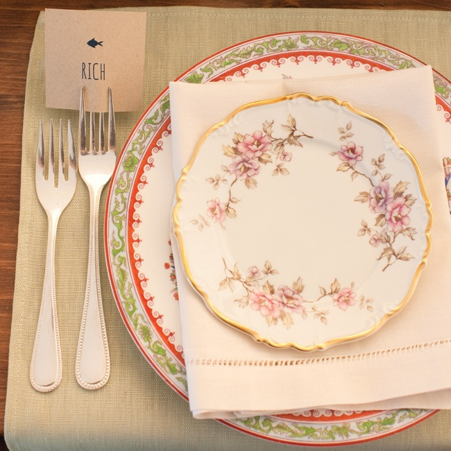 Antique china gave each place