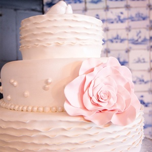 Blush Ruffled Wedding Cake