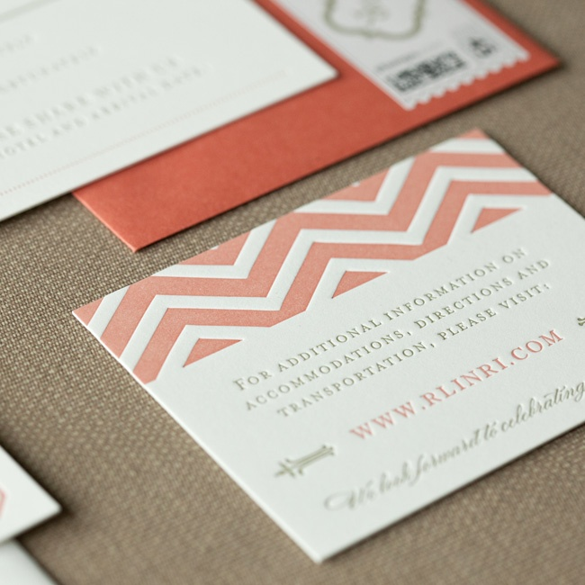 The invitation suite evoked the more formal tone of the event using an elegant mix of fonts in both coral and oatmeal, which was offset by using a fun chevron pattern to line the envelopes as well as on the information cards.