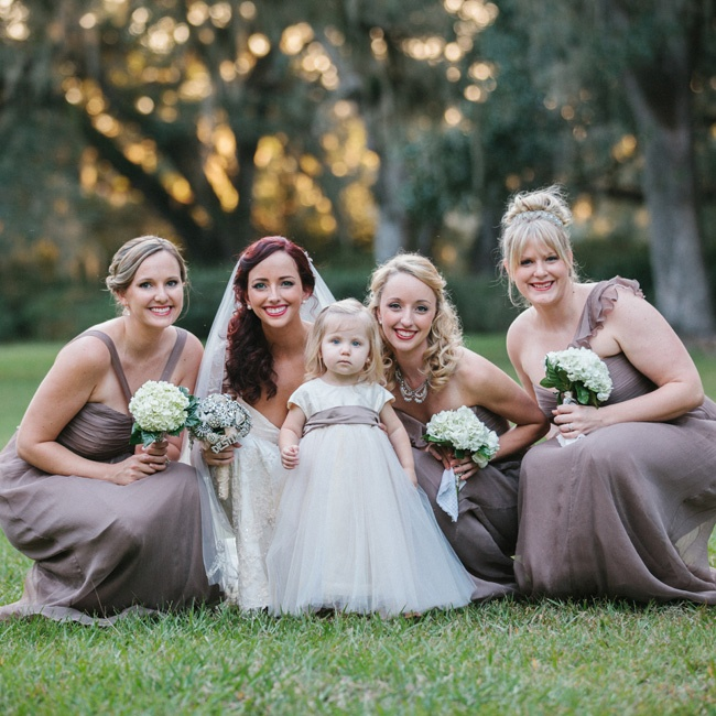 Truffle was an easy color choice for the bridesmaids' floor-length silk chiffon gowns because it complemented each of their skin tones so well. The