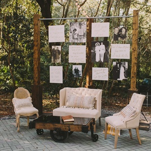 "A cozy lounge area at the reception included a makeshift ""wall"" with large canvas photos of the couple's parents and grandparents, and lyrics from Brittany