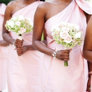 Blush One-Shoulder Bridesmaid Dresses
