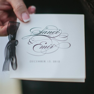 The black-and-white invitations conveyed the day's elegant and formal feel.