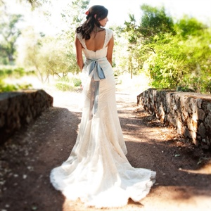 Custom Lace Gown with Blue Sash