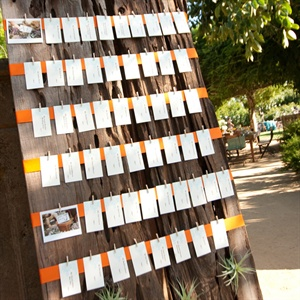 Simple white escort cards were hung from orange ribbons on a board of reclaimed wood dotted with spiky air