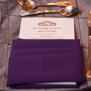 Purple Napkin and Menu Card