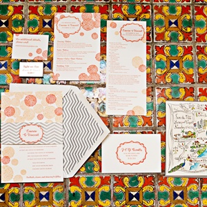 Coral and Peach Invitation Suite