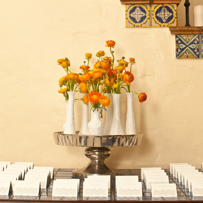 Orange flowers were