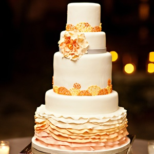 Orange and White Ombre Fondant Cake