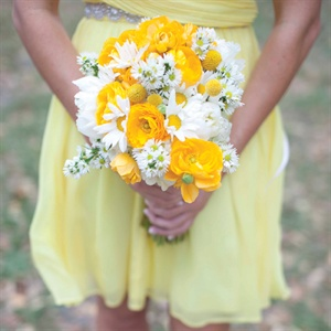Sunny Yellow and White Bridesmaid Bouquets