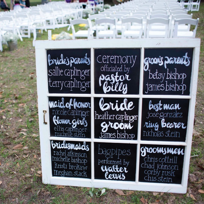 The bride's sister made the chalkboard