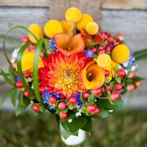 Craspedia, Dahlia and Calla Lily Bouquet