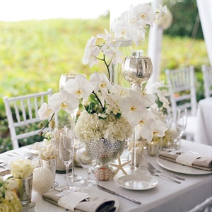 White Orchid and Hydrangea Centerpieces
