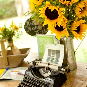 Vintage Typewriter and Sunflower Decor