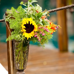 Rustic Wildflower Ceremony Decor