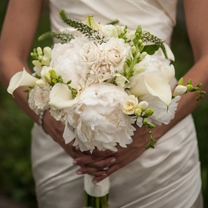 White Calla Lily and Peony Bridal Bouquet