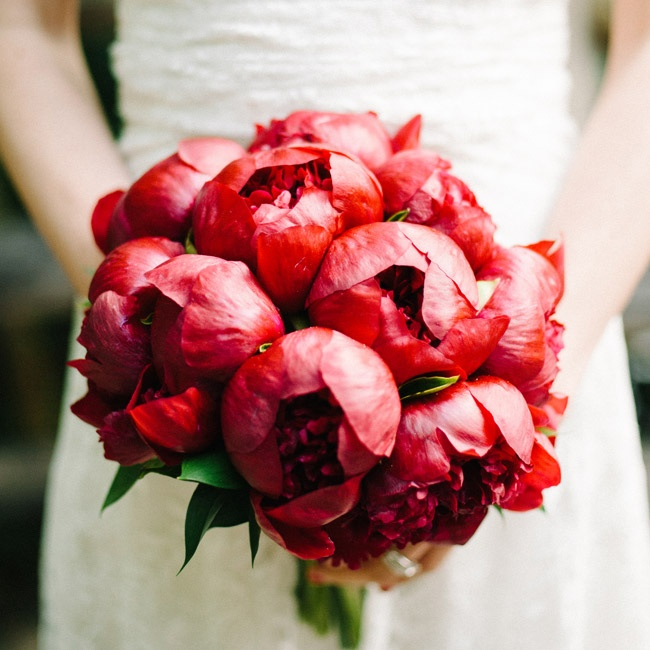 Peony Flower Bouquet Wedding: Red Peony Bridal Bouquet