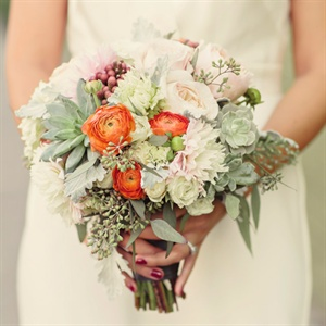 Ranunculus and Succulent Bridal Bouquet